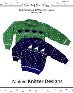 Child's Sailboat and Whale Pullover Sweaters - Yankee Knitter