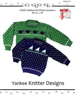 Child's Sailboat and Whale Pullover Sweaters - Yankee Knitter  - Pattern download