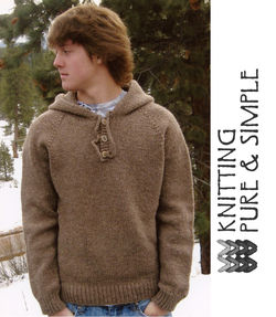 Neck Down Men's Hooded (Hoodie) Pullover  by Knitting Pure and Simple