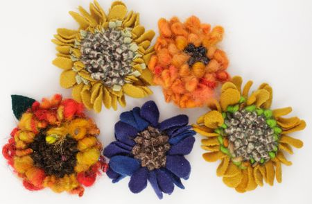 April--Flowers:--Hooked--Flower--Brooches