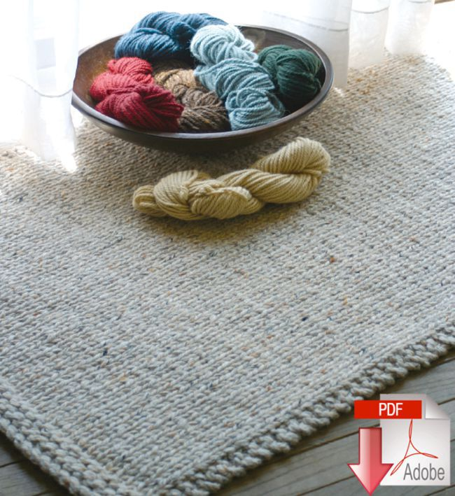 Knitted Rectangular Rug - Halcyon Classic Rug Wool - Pattern download