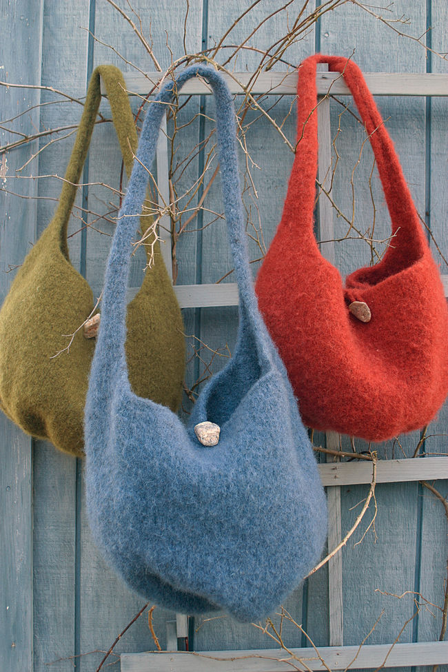Halcyon Yarn Felted Knitting Satchel - Geo Rug Wool