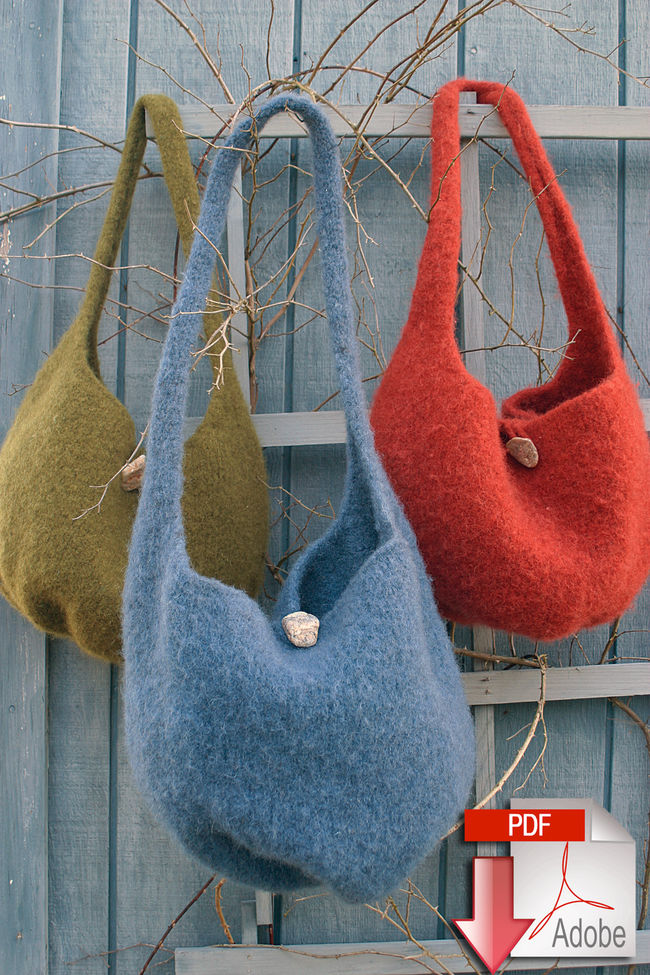 Halcyon Yarn Felted Knitting Satchel - Geo Rug Wool - Pattern download