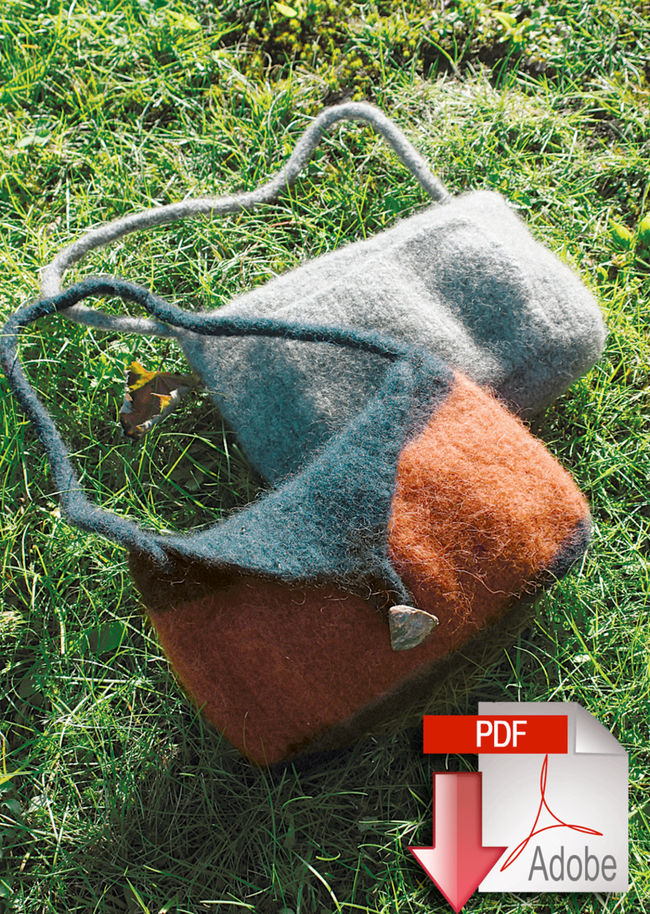 Shoulder Purse Felted Knitting - Geo or Deco Rug Wools - Pattern download
