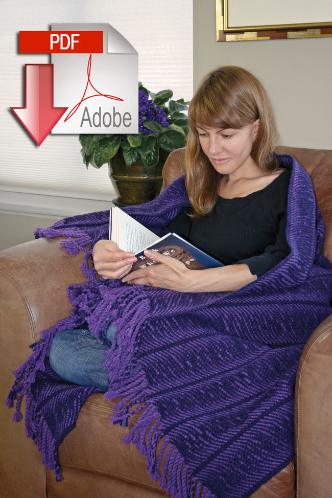 Undulating Waves Woven Blanket - Harrisville 2-Ply - Pattern download