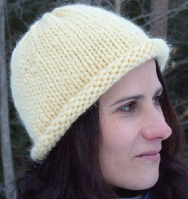 Knit Hat Pattern Free Brim : Roll Brim Hat, Knitting Pattern - Halcyon Yarn