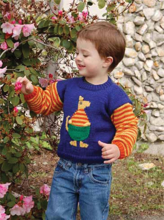 Childrens Kangaroo Sweater, Knitting Pattern - Halcyon Yarn