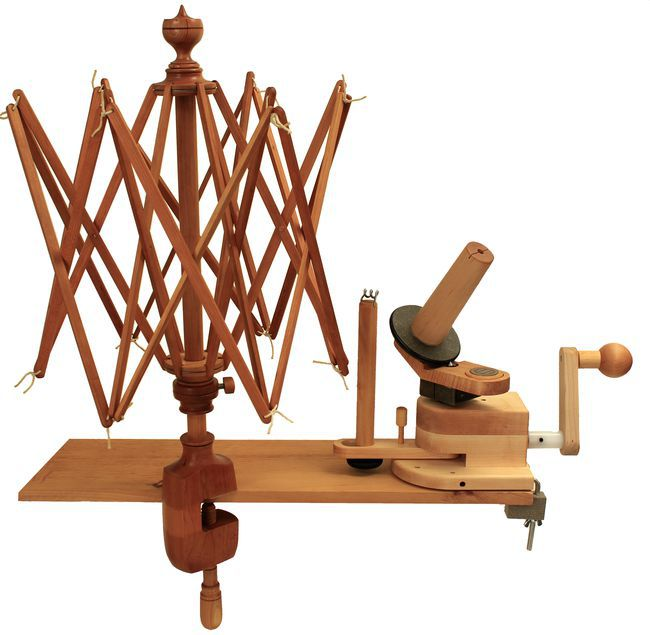 Halcyon's Maine Made Cherry Swift and Wooden Ball Winder Combo