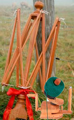Halcyon's Maine Made Cherry Swift and Wooden Ball Winder Combo (image A)