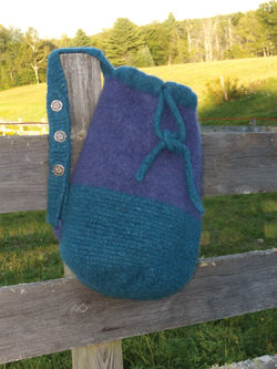 Penobscot Bay Felted Bag  Geo Rug Wool