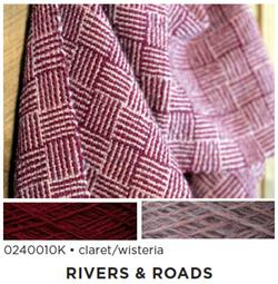 Rivers and Roads  Woven Scarf Kit  claret  wisteria