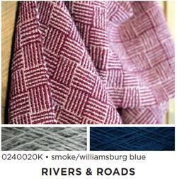 Rivers and Roads  Woven Scarf Kit  smoke  williamsburg blue