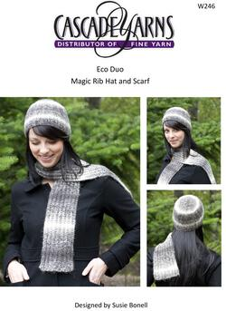 Cascade Eco Duo Magic Rib Hat and Scarf Pattern