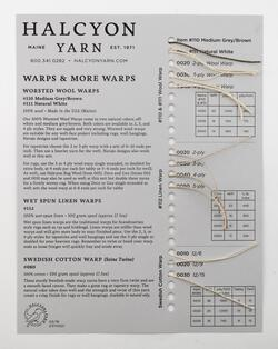 Warps amp More Warps Sample Card  Wool and Linen Rug and Tapestry Warps