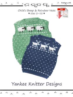 Child's Sheep and Reindeer Vests - Yankee Knitter  - Pattern download