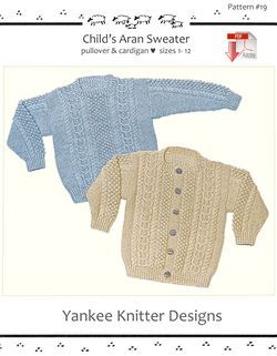 Child's Aran Sweater in Pullover and Cardigan - Yankee Knitter  - Pattern download