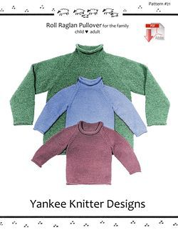 Roll Neck Raglan Sweater - Yankee Knitter  - Pattern download