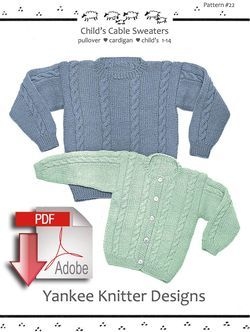 Childaposs Cable Sweater in pullover amp cardigan  Yankee Knitter   Pattern download