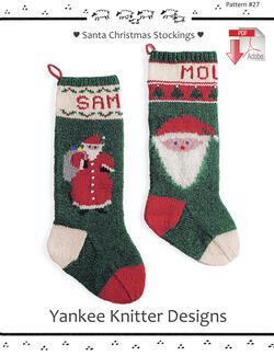 Santa Christmas Stockings - Yankee Knitter  - Pattern download