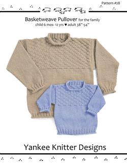 Basketweave Pullover for the Family - Yankee Knitter