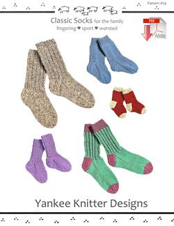 Classic Socks - Yankee Knitter  - Pattern download