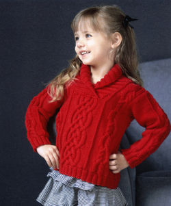 Kid's Shawl Collar Cabled Pullover