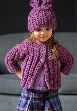 CLEARANCE Chain Rib Girl's Cardi & Hat