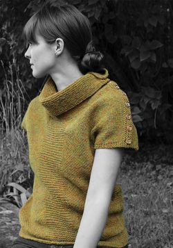CLEARANCE  Antrim Buttoned Cowl Vest  Watershed Pattern Harrisville Designs
