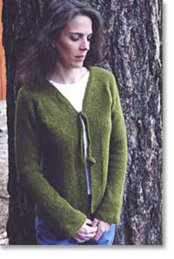 Neck Down V Neck Cardigan with Tie by Knitting Pure and Simple
