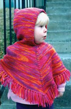 Childrenaposs Hooded Poncho by Knitting Pure amp Simple