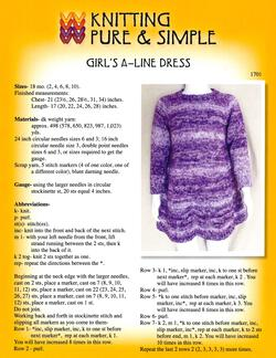 Girlaposs ALine Dress by Knitting Pure and Simple