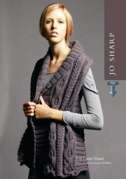 Jo Sharp Cable Shawl plus Unisex V-Neck Sweater - Pattern Download