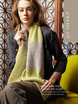 Jo Sharp Asymmetric Banded Rib Scarf - Pattern Download