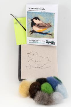 Chickadee Tile Felting Kit tools included