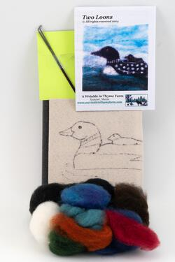 Two Loons Tile Felting Kit tools included