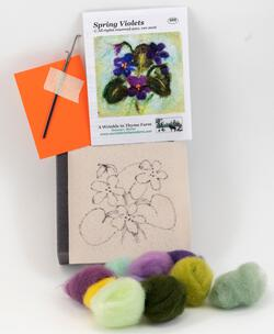 Spring Violets Tile Felting Kit tools included