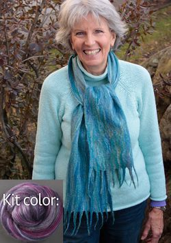 Silk Merino Scarf Kit  Black Currant  from Ashford