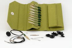 Lykke 35quot Interchangeable Bamboo Knitting Needle Set  Grove Green Case
