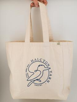 Halcyon Yarn Logo Recycled Cotton Tote wPocket