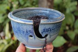 Denim Stoneware Yarn Bowl - Made in Maine