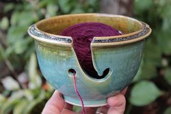 Ocean Green Stoneware Yarn Bowl - Made in Maine