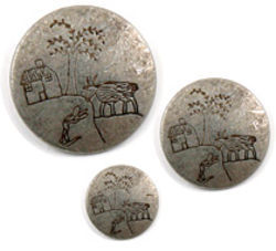Tin 1 quot HouseTreeGoat Button