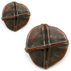 Copper Large Rustic Button, .875 ""