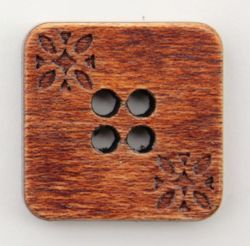 Brown Wood Square 34quot Button