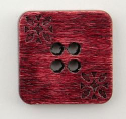 Red Wood Square 34quot Button