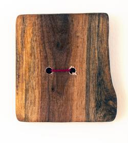 One XLarge Square or Unusual Shaped Button  Mixed Woods