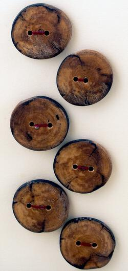 Six Large Buttons  Mixed Woods