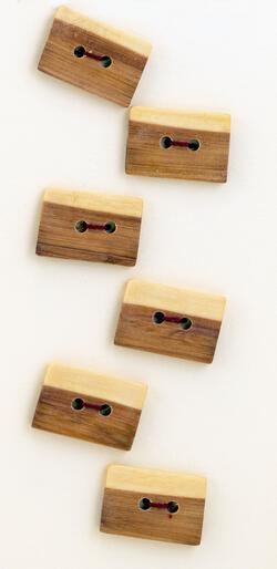 Six Small Square or Oblong Buttons  Mixed Wood