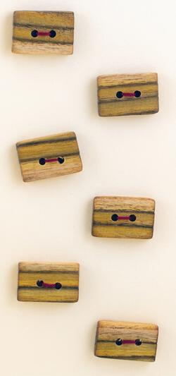 Six Medium Square or Oblong Buttons  Mixed Wood