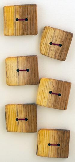 Six Large Square or Oblong Buttons  Mixed Wood